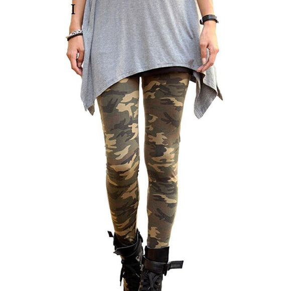 Women's High Elastic Skinny Camouflage Leggings - LoveTheVictory