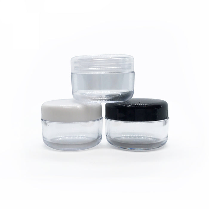 6ml Clear Plastic Lip Balm Pot (with White, Black or Clear Lid)