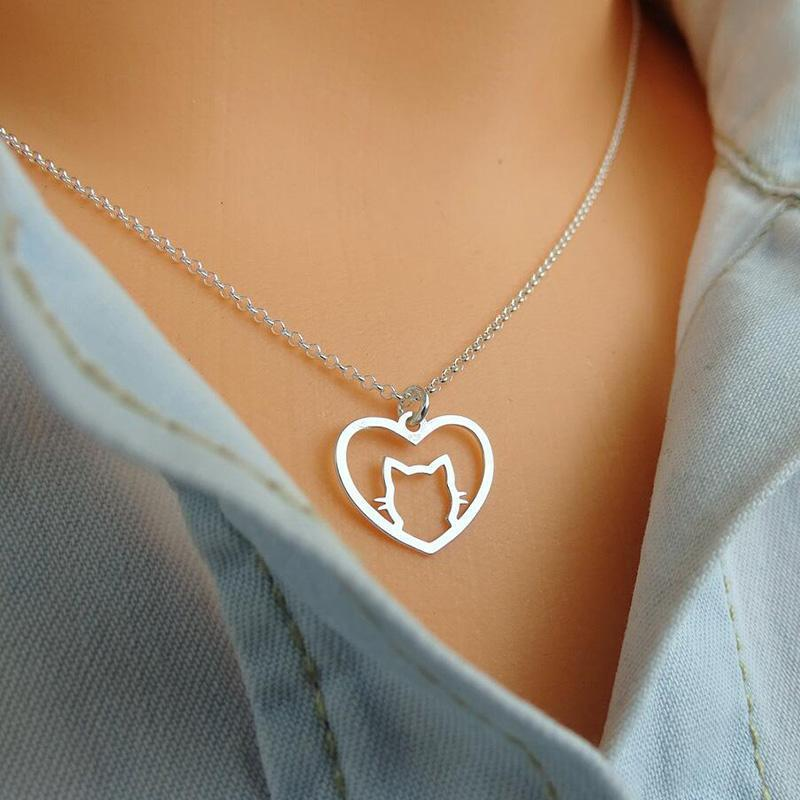 Cat Heart Necklace - Modvaii