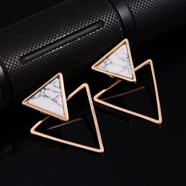 Triangle Round Geometric Earring - Modvaii