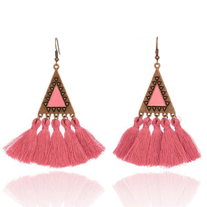New Bohemian Colorful Tassel Statement Earrings