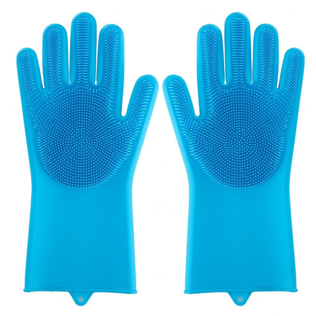 1 Pair Silicone Magic Scrubber Rubber Gloves Eco-Friendly Cleaning Sponge Dishwashing Brushs Household Cleaning Gloves