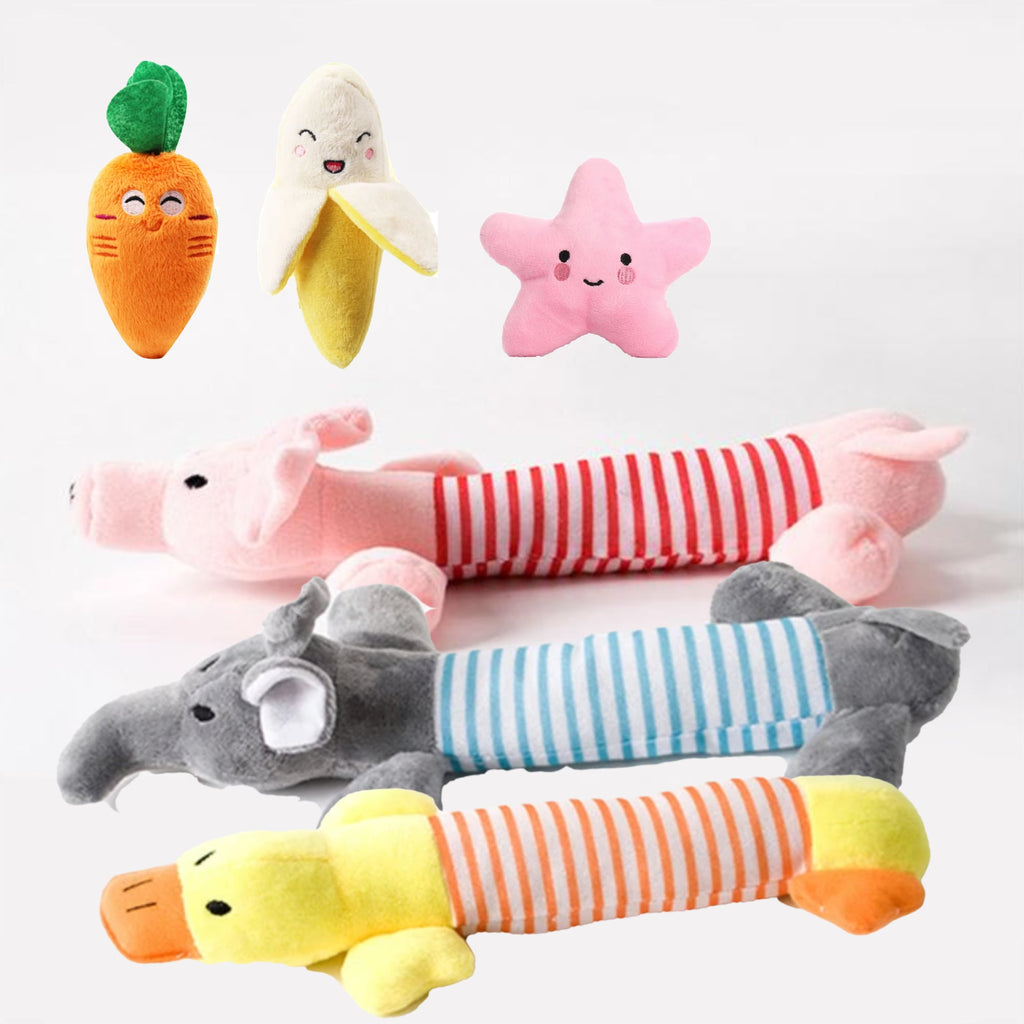 Selection of plush toys for dogs, star shape, banana shape, elephant shape, piggy shape, duck shape, carrot shape