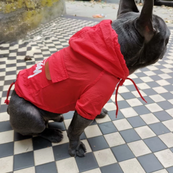 French bulldog Raincoat Red Colour - side view, Adjustable fasteners