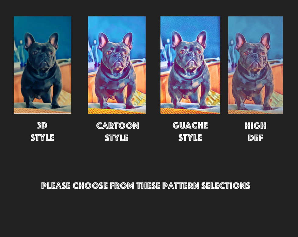 Please choose from following patterns, 3D, Cartoon, Guache, High Def