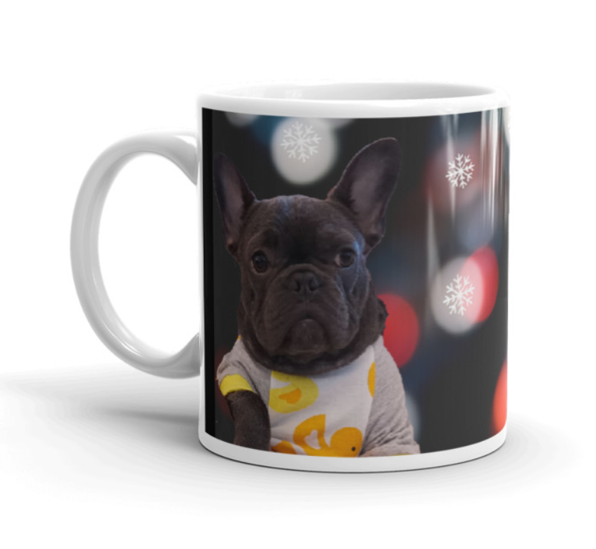 Personalised Pet Print Christmas Coffee Mug - Your dog picture on front of the mug