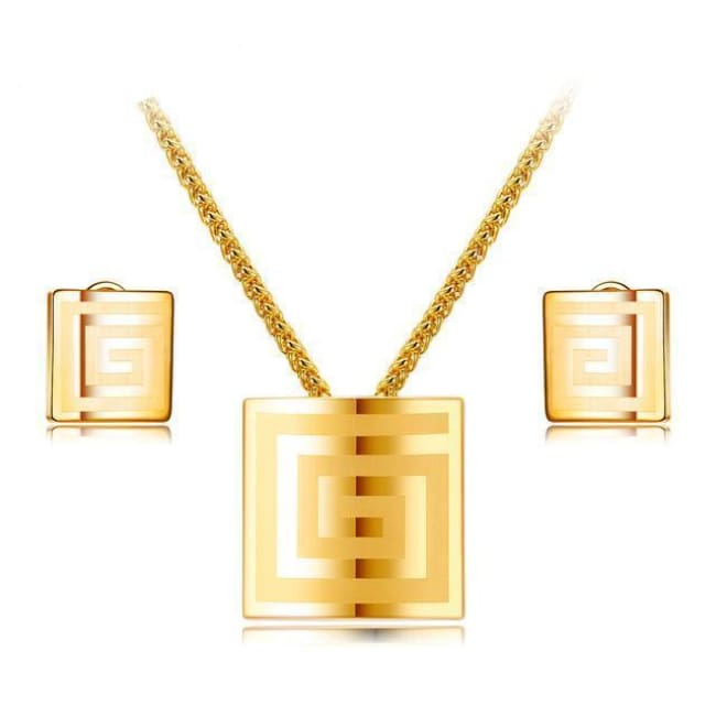 Alexis Square Shape Pendant Necklace With Stud Earrings Set - Necklace And Earring Set