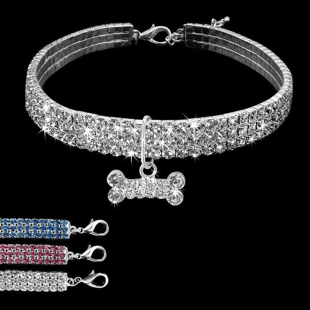 Bling Bling Small Dog Collar - Dog Collar, French Bulldog Diamante Design Collar