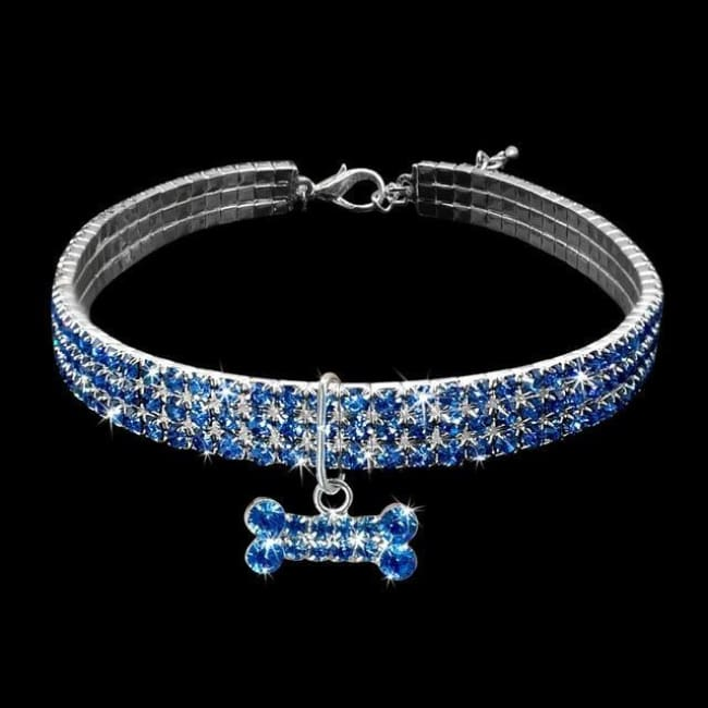 Bling Bling Small Dog Collar - Blue / L - Dog Collar, French Bulldog Diamante Design Collar
