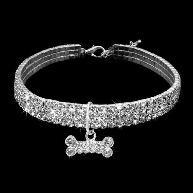 Bling Bling Small Dog Collar - White / L - Dog Collar