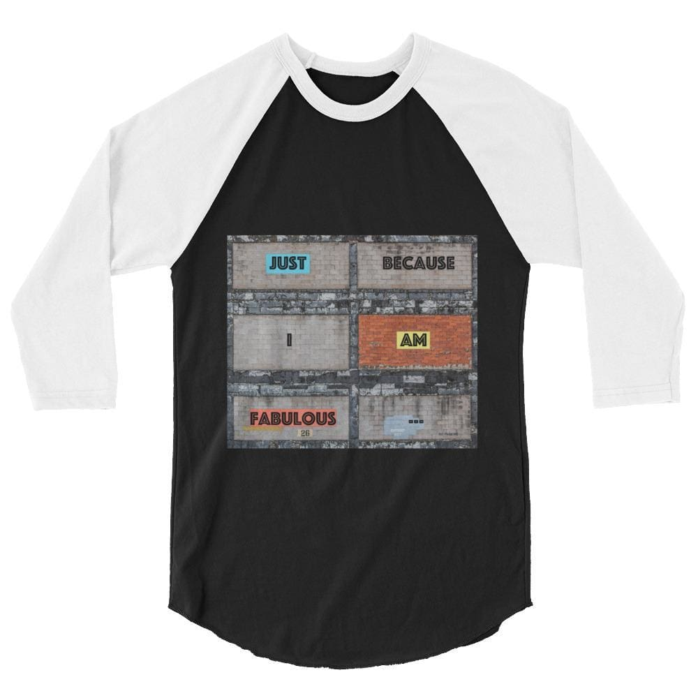 Bricklane Message 3/4 Sleeve Raglan Shirt - Black/white / Xs