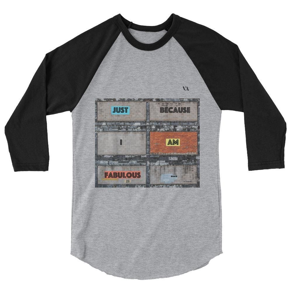 Bricklane Message 3/4 Sleeve Raglan Shirt - Heather Grey/black / Xs