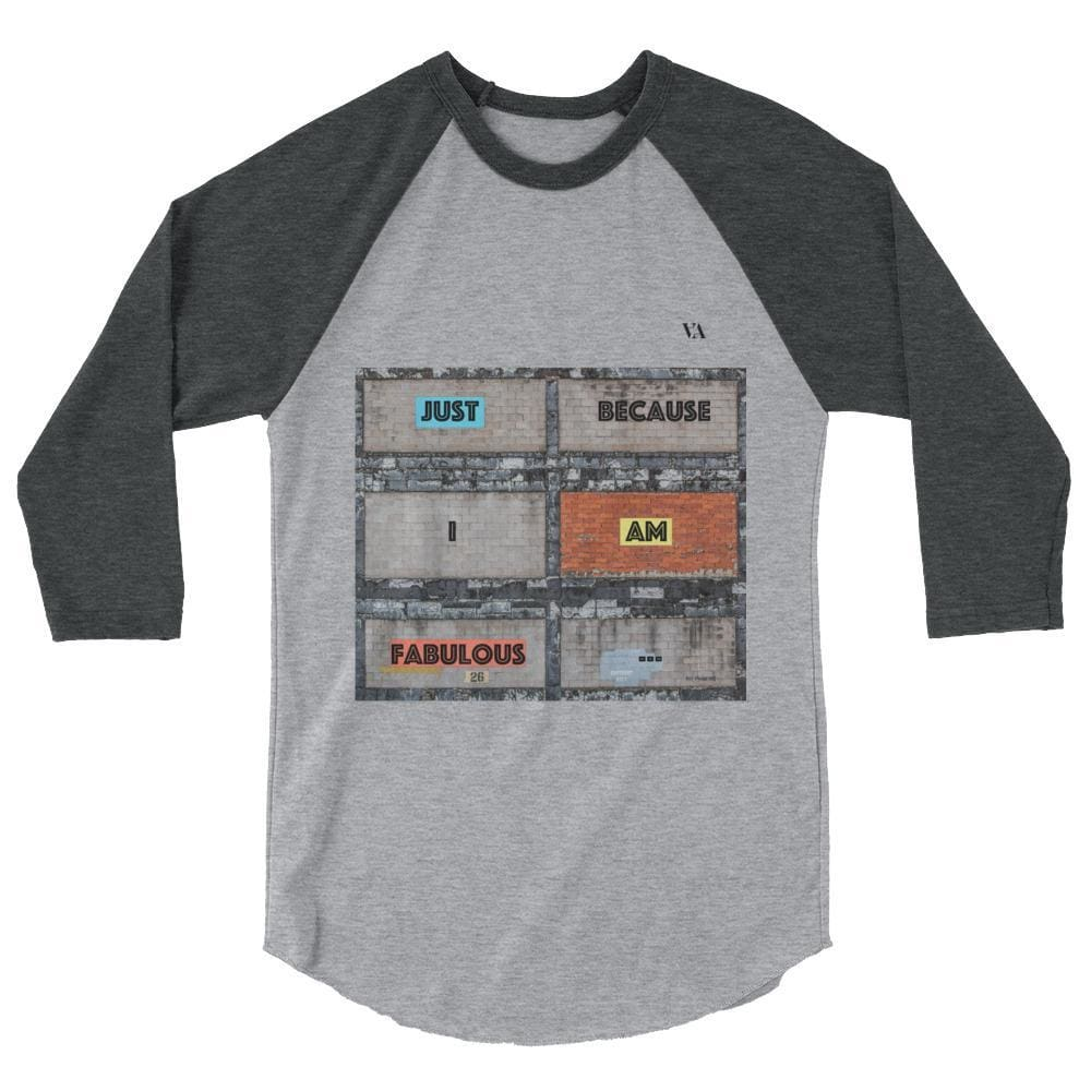 Bricklane Message 3/4 Sleeve Raglan Shirt - Heather Grey/heather Charcoal / Xs