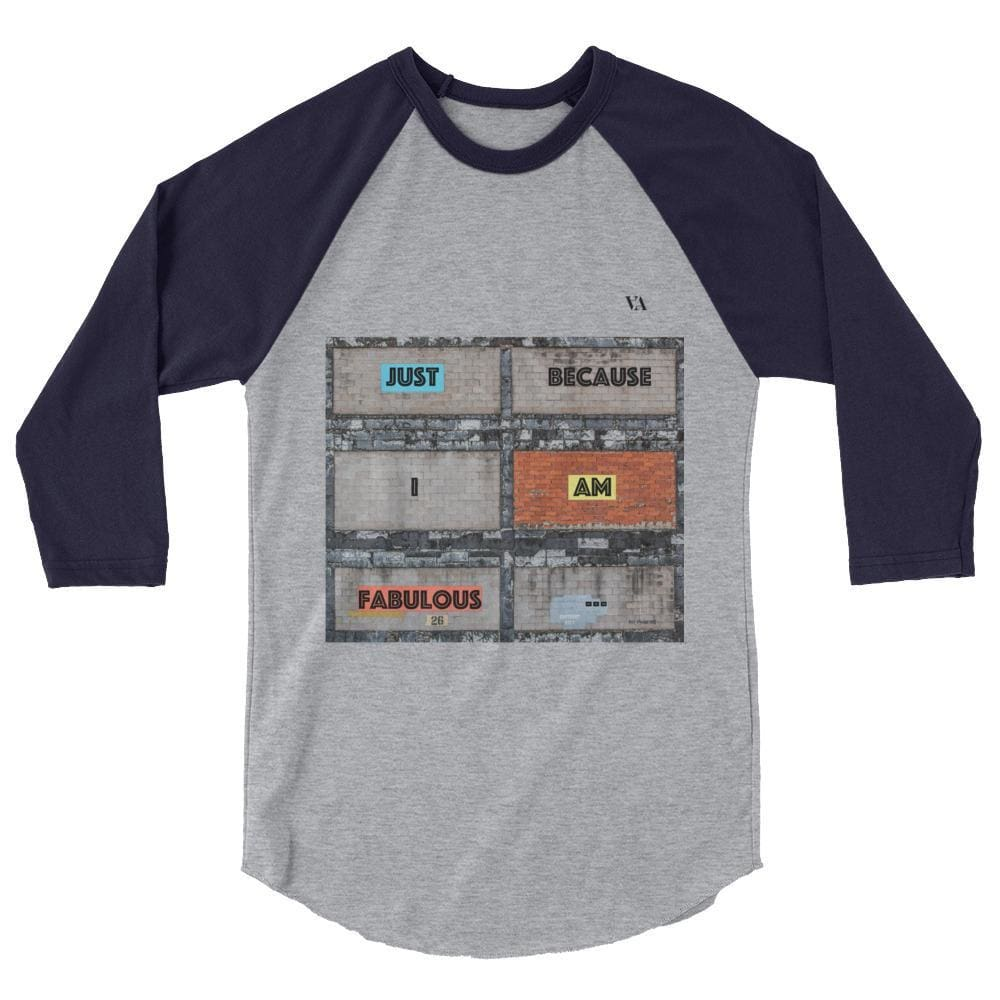 Bricklane Message 3/4 Sleeve Raglan Shirt - Heather Grey/navy / Xs