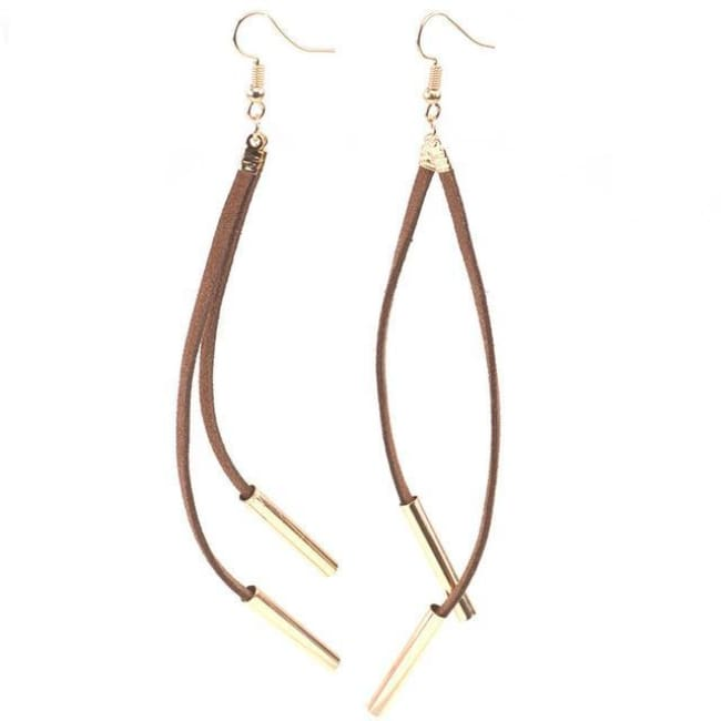 Carla Bohemian Style Long Tassel Drop Earrings - Gold Brown - Earrings