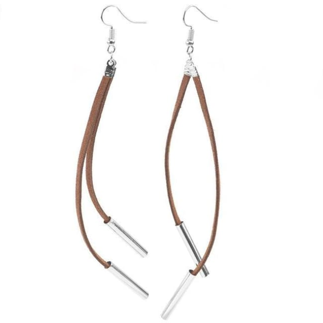 Carla Bohemian Style Long Tassel Drop Earrings - Silver Brown - Earrings