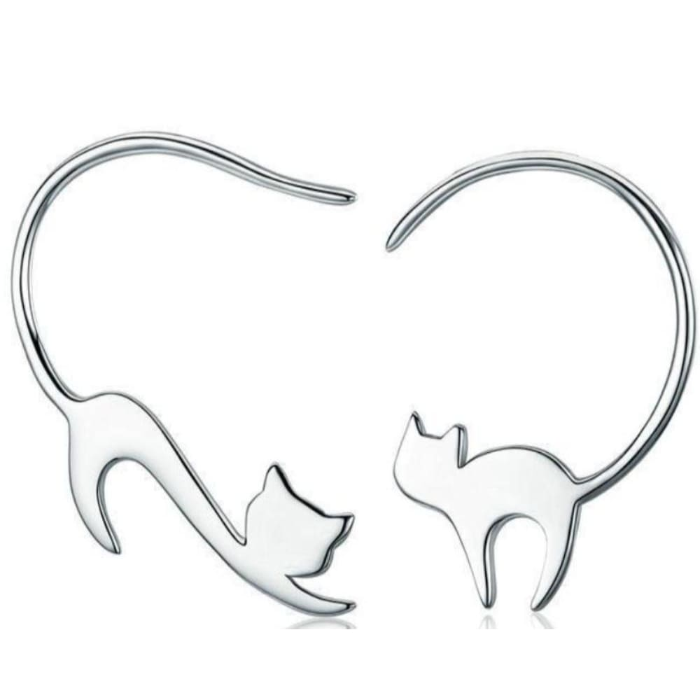Carlas Sterling Silver Cute Little Cat Drop Earrings - Earrings