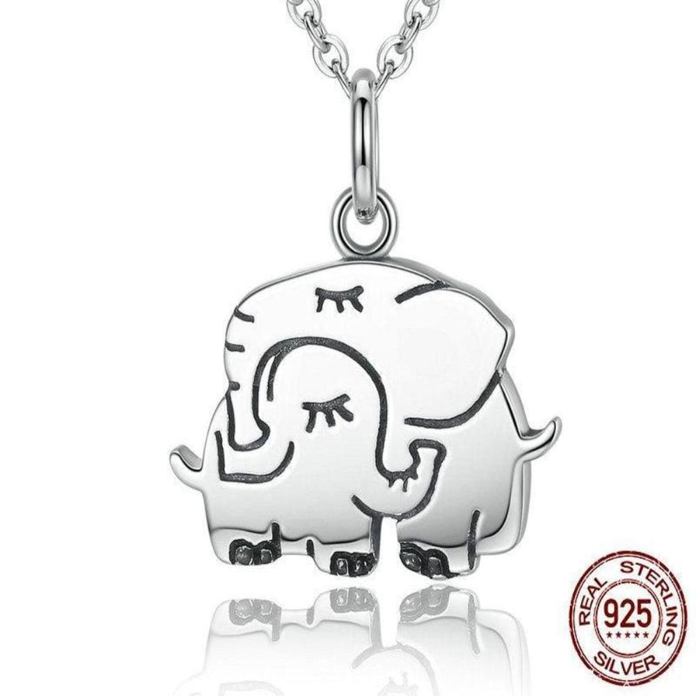 Carlas Sterling Silver Super Cute Elephant Hug Pendant Necklace - Necklace