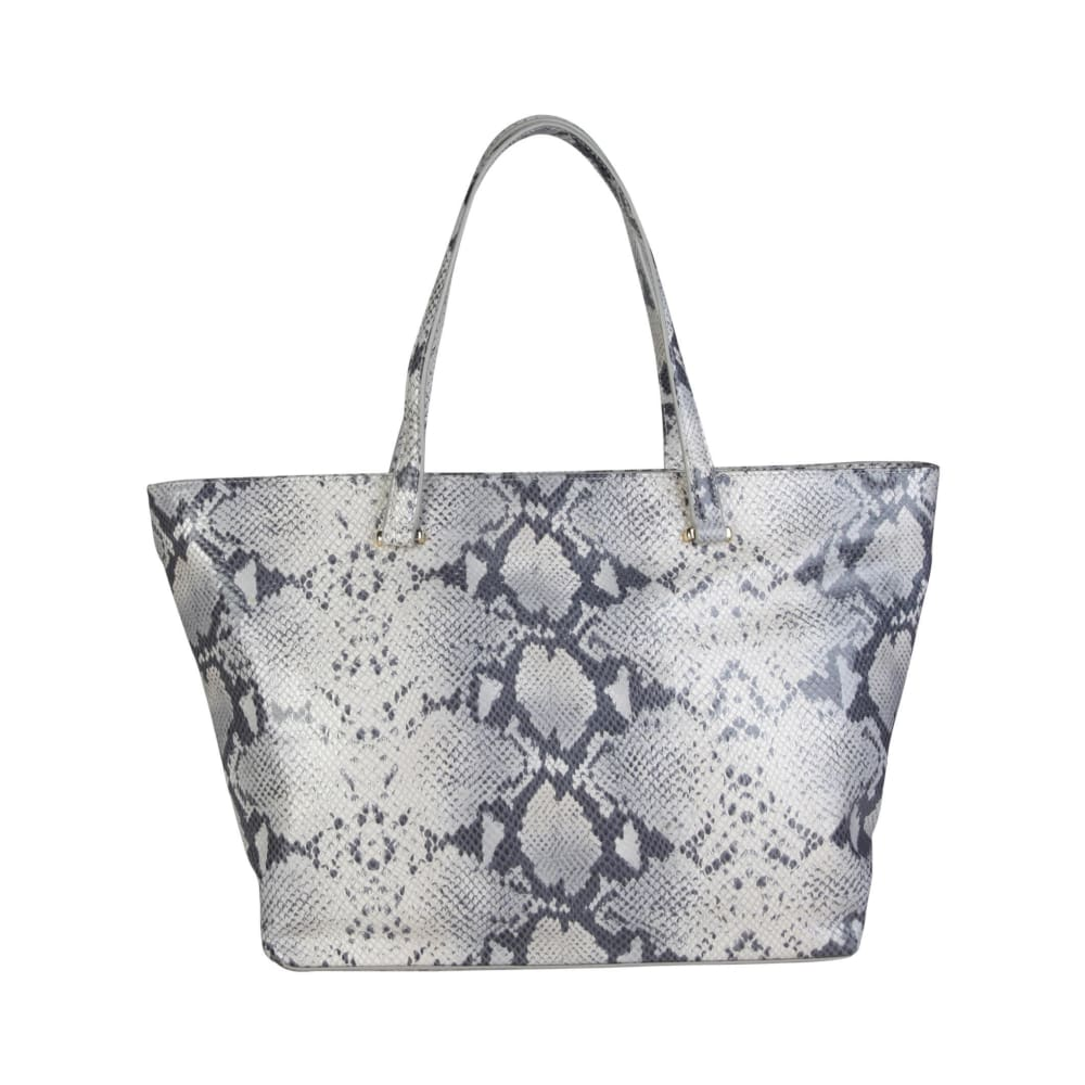 Cavalli Class - Grey Tone Snake Print Shopping Bag - Bags Shopping Bags