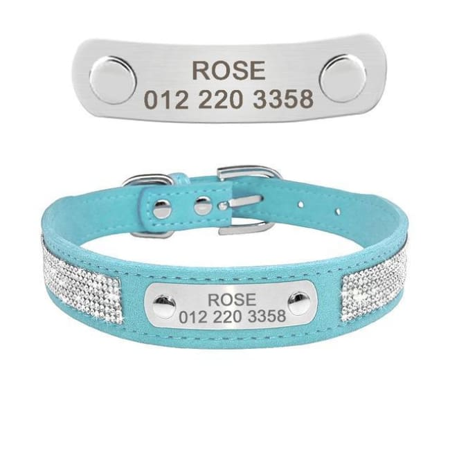 Chelsea Bling Bling Engraved Dog Collar - Blue / L - Dog Collar