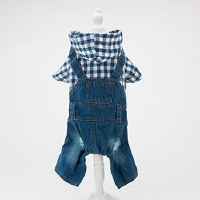 Cocos Summer Rompers Plaid T-Shirt Jeans Strap Pants - Blue / Xs(Chest 29-31Cm) - Dog Clothes