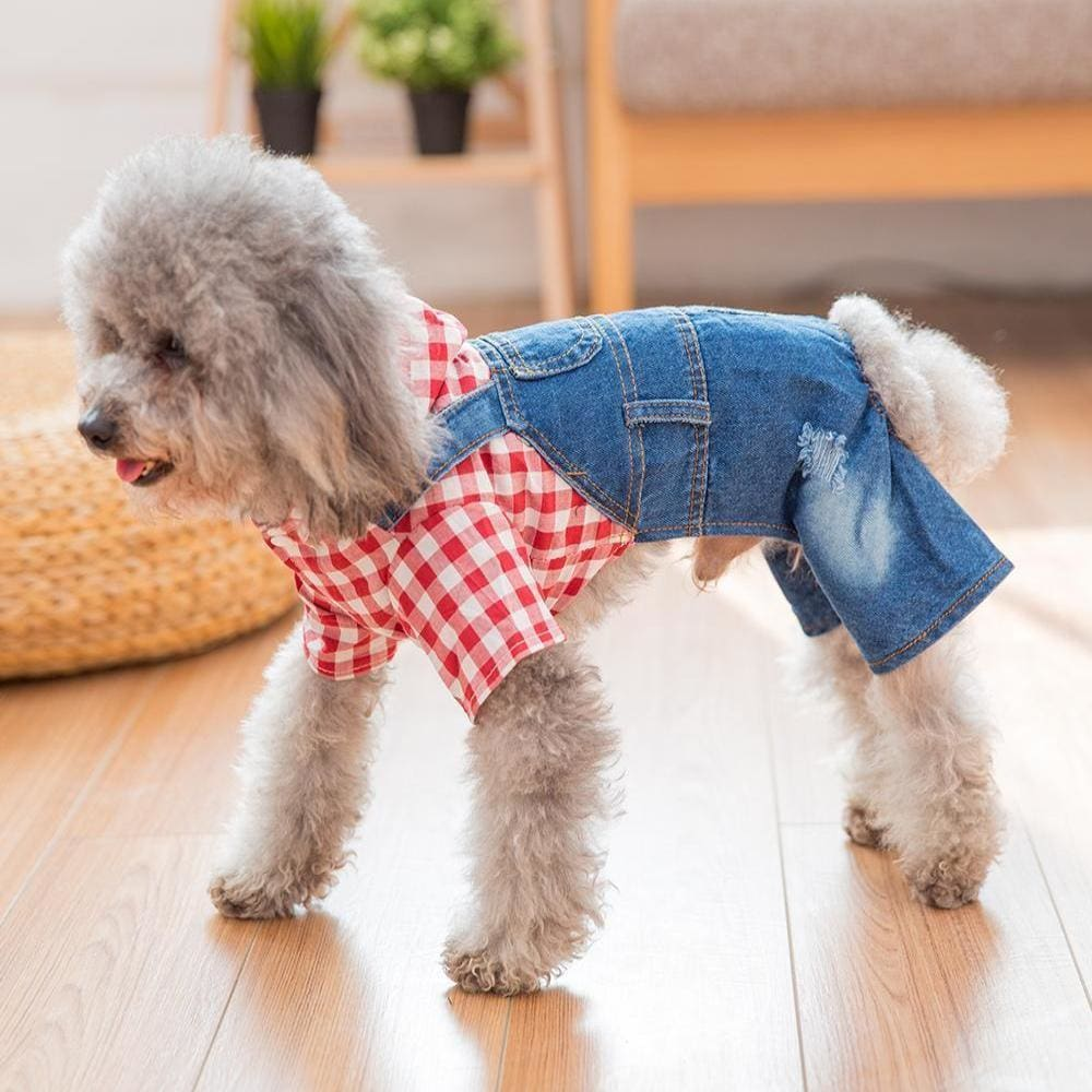 Cocos Summer Rompers Plaid T-Shirt Jeans Strap Pants - Dog Clothes