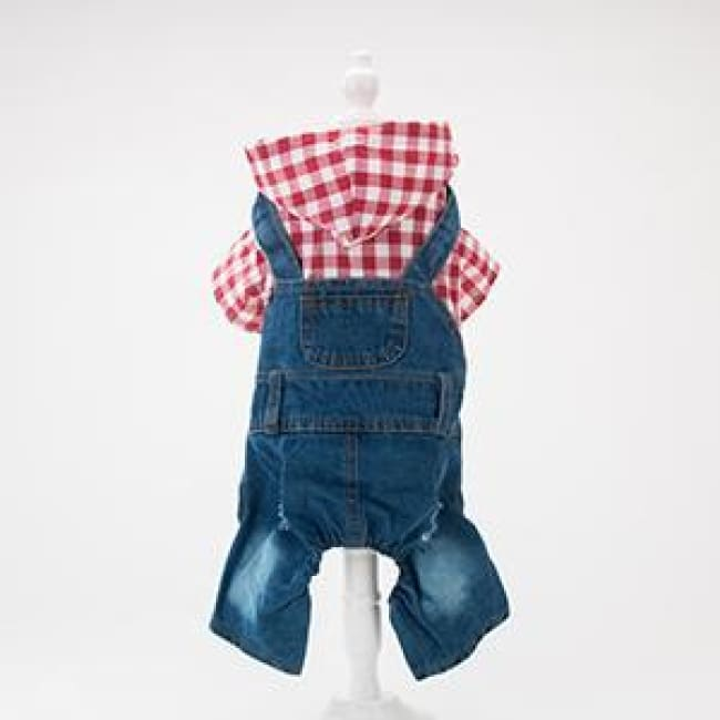 Cocos Summer Rompers Plaid T-Shirt Jeans Strap Pants - Red / Xs(Chest 29-31Cm) - Dog Clothes