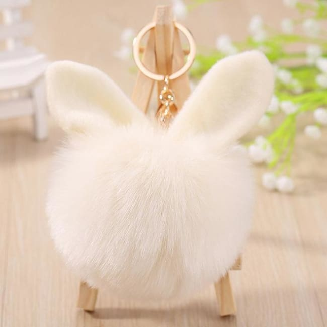 Fluffy Bunny Pom Pom Ball Keychain - Beige - Key Chain