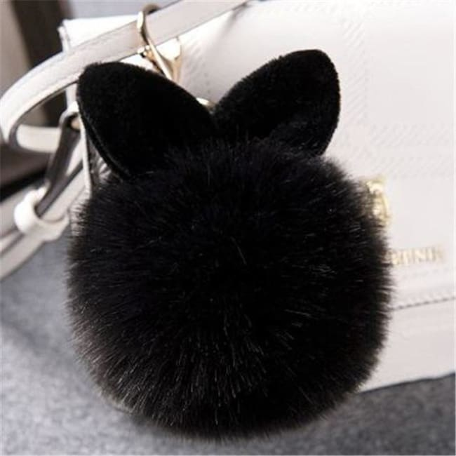 Fluffy Bunny Pom Pom Ball Keychain - Black - Key Chain