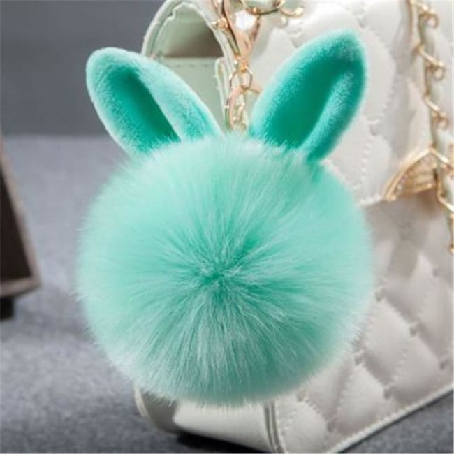 Fluffy Bunny Pom Pom Ball Keychain - Green - Key Chain