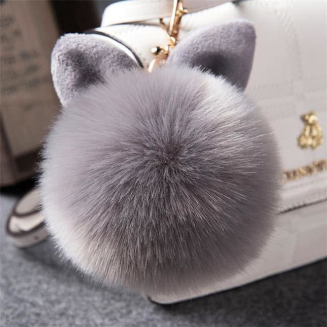 Fluffy Bunny Pom Pom Ball Keychain - Grey - Key Chain