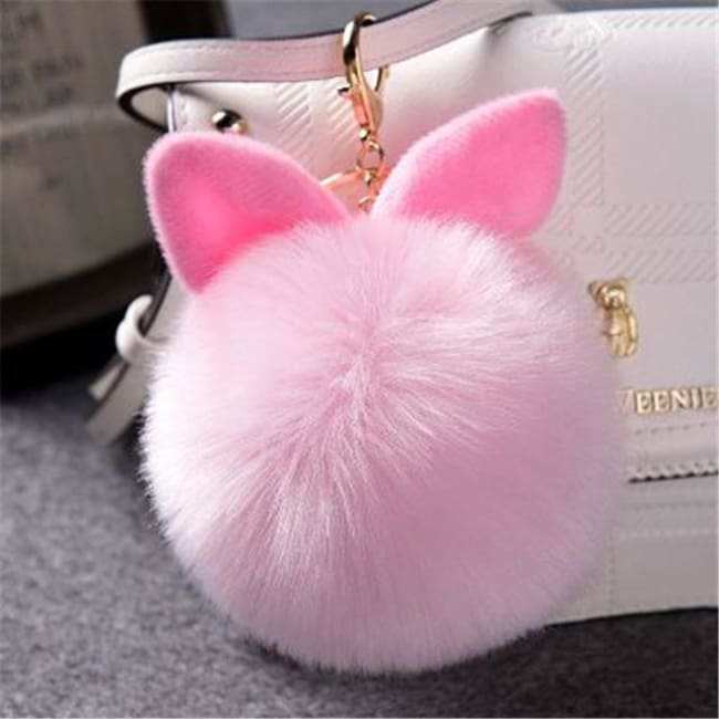 Fluffy Bunny Pom Pom Ball Keychain - Pink - Key Chain