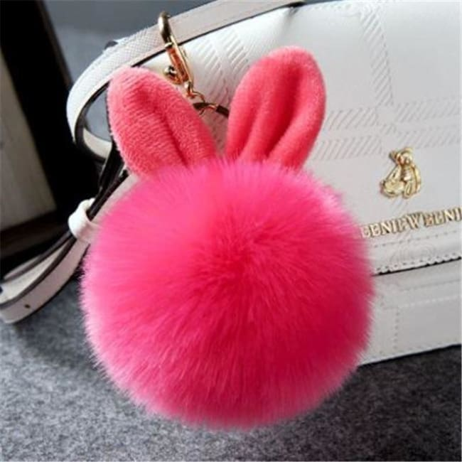 Fluffy Bunny Pom Pom Ball Keychain - Rose Red - Key Chain