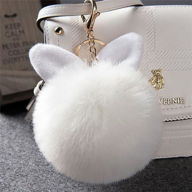 Fluffy Bunny Pom Pom Ball Keychain - White - Key Chain