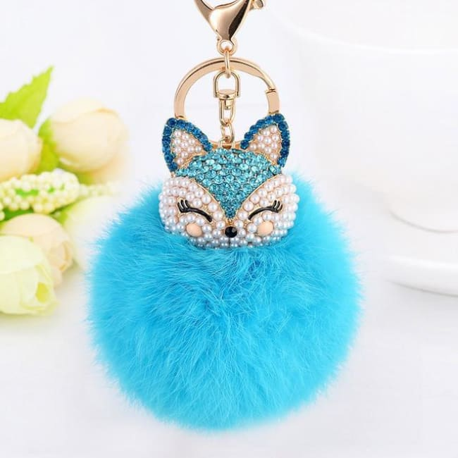 Foxy Roxy Cute Fur Pom Pom Ball Keychain - Blue - Key Ring