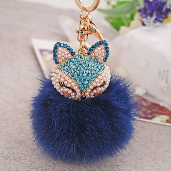 Foxy Roxy Cute Fur Pom Pom Ball Keychain - Blue Navy - Key Ring