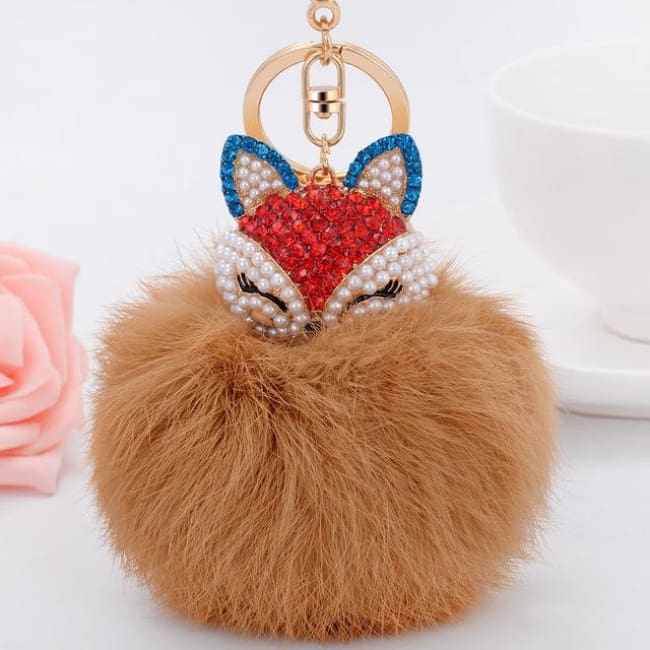Foxy Roxy Cute Fur Pom Pom Ball Keychain - Champagne - Key Ring