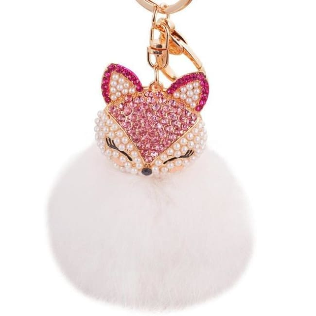 Foxy Roxy Cute Fur Pom Pom Ball Keychain - Pink White - Key Ring