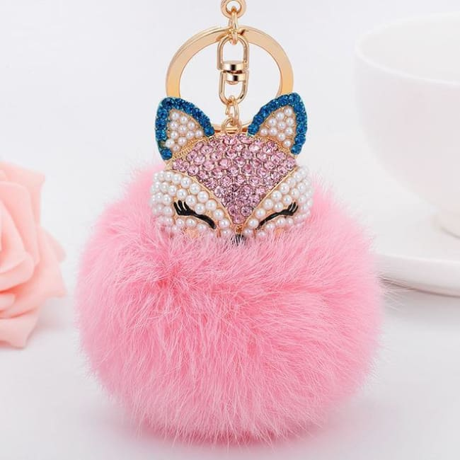Foxy Roxy Cute Fur Pom Pom Ball Keychain - See Chart - Key Ring