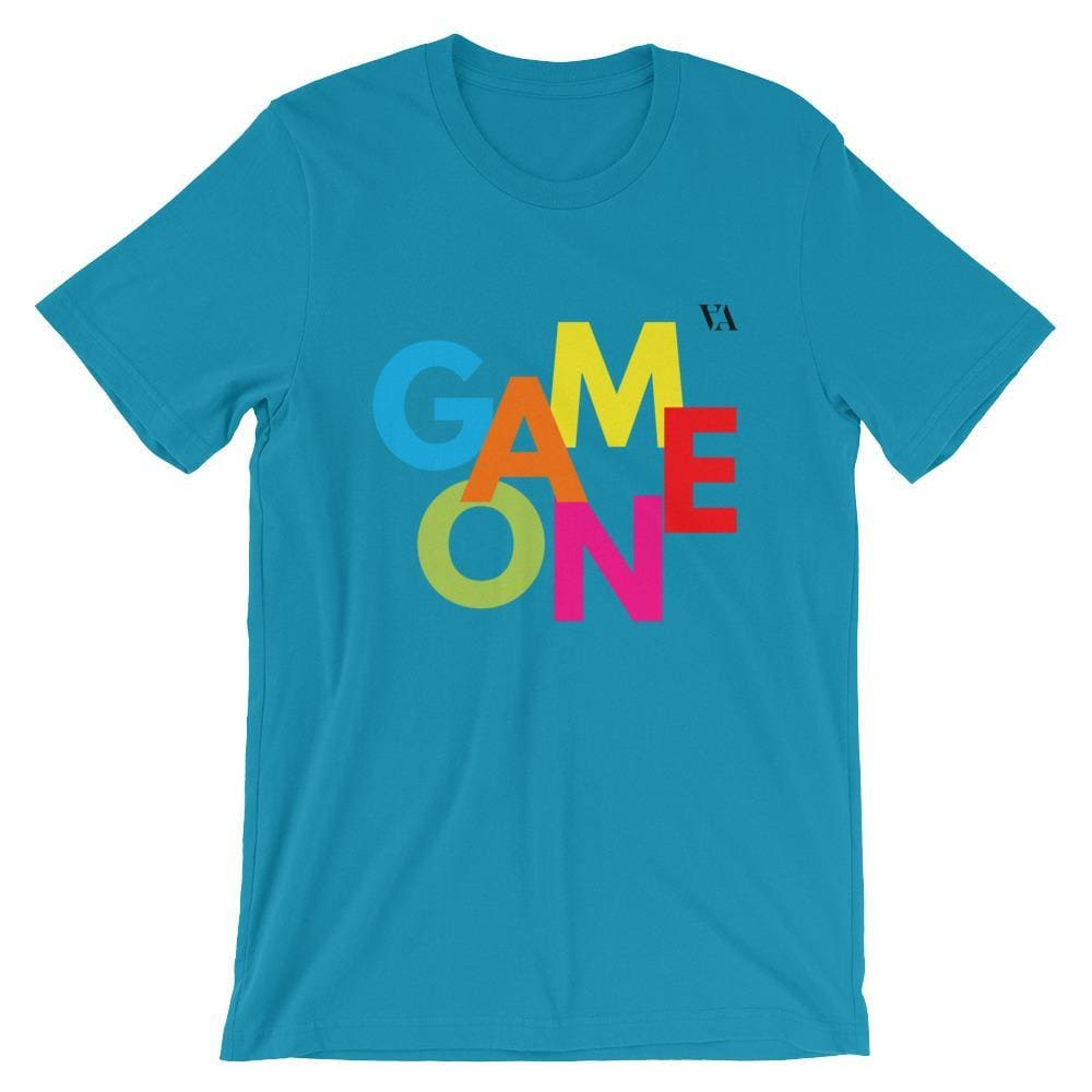Game On Print Short-Sleeve Unisex Tee - Aqua / S - Tshirt