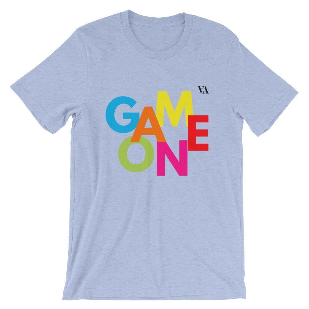 Game On Print Short-Sleeve Unisex Tee - Heather Blue / S - Tshirt