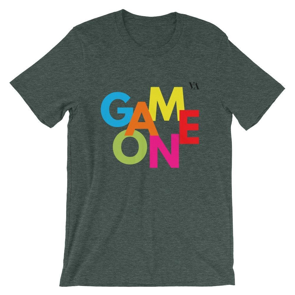 Game On Print Short-Sleeve Unisex Tee - Heather Forest / S - Tshirt
