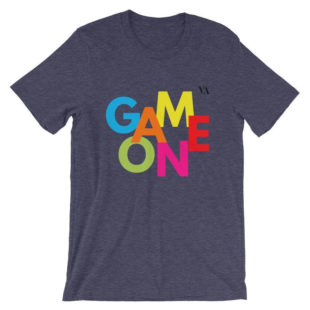 Game On Print Short-Sleeve Unisex Tee - Heather Midnight Navy / S - Tshirt