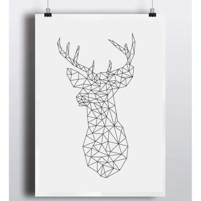Geometric Deer Head Canvas Art Print Painting Black And White - 42Cmx30Cma3 No Frame / Pr1005 - Home