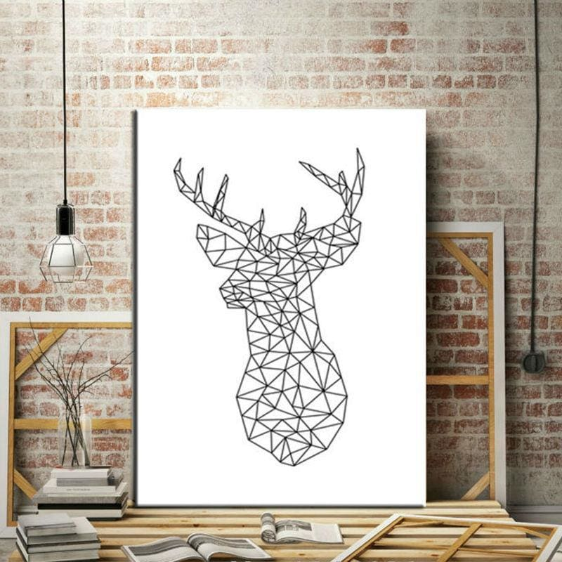 Geometric Deer Head Canvas Art Print Painting Black And White - Home