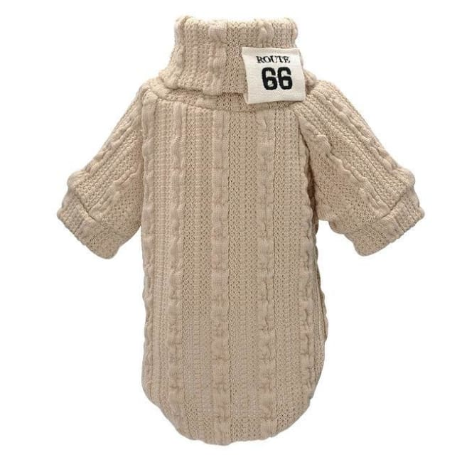 Gizmo Classic Knit Small Dog Sweater - Beige / L - Dog Clothes