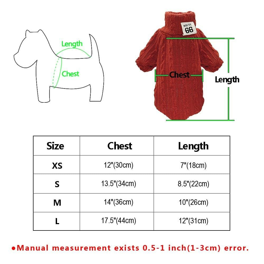 Gizmo Classic Knit Small Dog Sweater - Size Chart