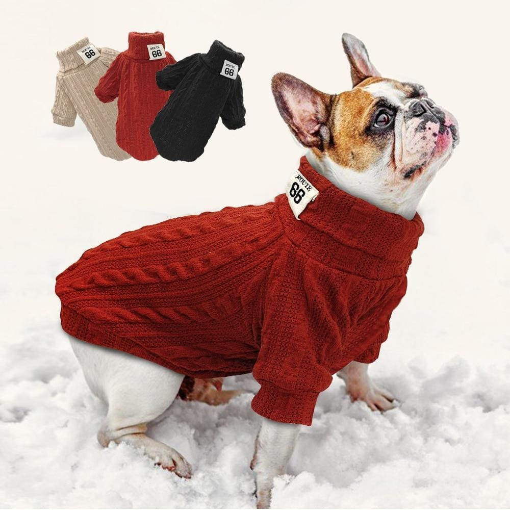 Gizmo Classic Knit Small Dog Sweater - French bulldog red sweater