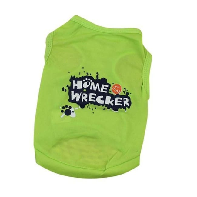 Home Wrecker Dog Tshirt - Green / L - Dog Clothes
