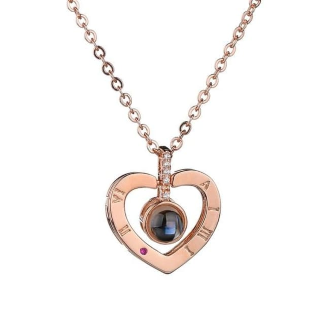 I Love You Necklace - Rose Gold Heart / 40Cm - Necklace